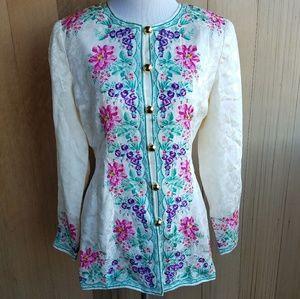 Vintage Floral Silk Button Front Jacket